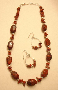 Poppy Jasper Necklace & Red Jasper Chip Earrings