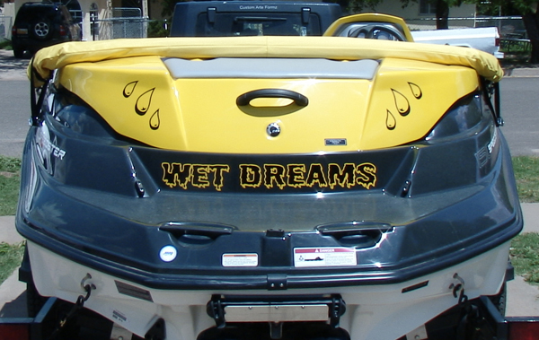 Wet Dreams Boat Vinyl Graphics